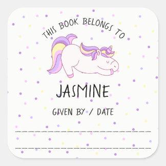Unicorn book sticker, bookplate, library square sticker