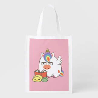 Unicorn Bookworm Reusable Grocery Bag