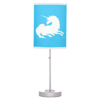 """Unicorn & Butterfly"" Blue Table Lamp"