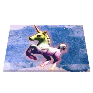 Unicorn Canvas Art Print 20x16 (Burnt Blue)
