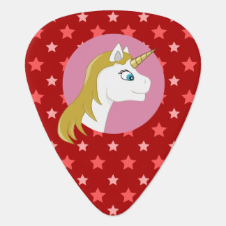 Unicorn cartoon guitar pick