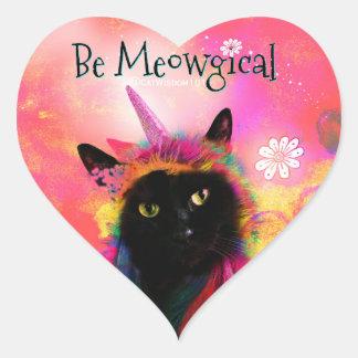 Unicorn Cat Magic Heart Sticker