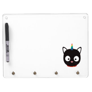 Unicorn Cat with rainbows Z0ml8 Dry Erase Board With Keychain Holder
