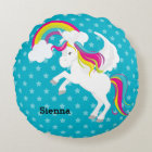 Unicorn * Choose your background colour Round Pillow