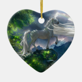 Unicorn Cliff Ceramic Ornament