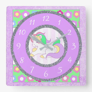 Unicorn Clock with purple and green flowers