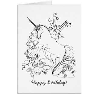 Unicorn Coloring Page Greeting Card
