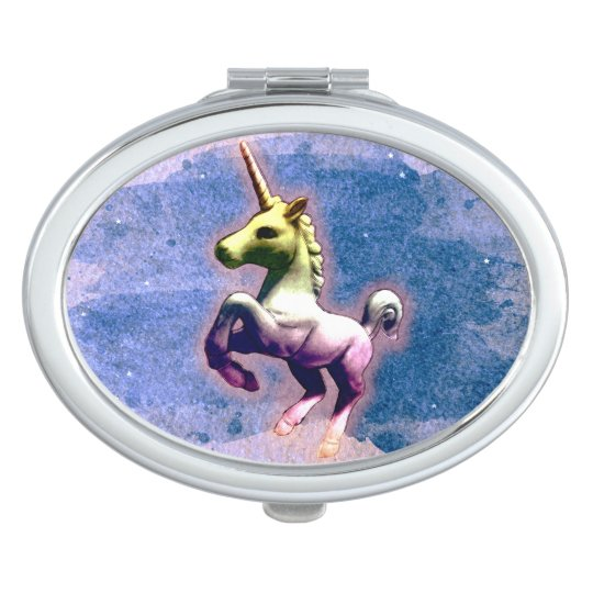 Unicorn Compact Mirror Oval (Burnt Blue)