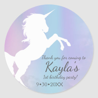 Unicorn, cotton candy colours, custom classic round sticker