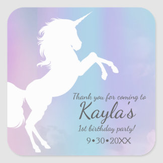 Unicorn, cotton candy colours, custom square sticker