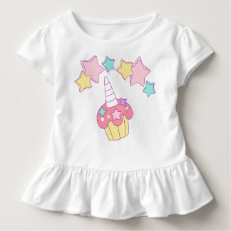 Unicorn cupcake and stars ruffle toddler tee