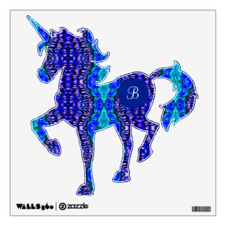 Unicorn Custom Monogram Funky Blue TieDye Pattern Wall Decal