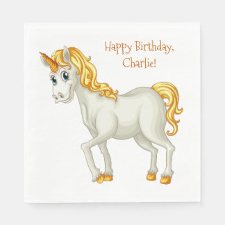 Unicorn custom text paper napkins