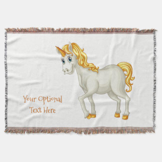 Unicorn custom text throw blanket