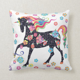 Unicorn Dark Blue Rainbow Flowers Throw Pillow