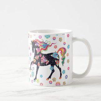 Unicorn - Dark Blue Rainbpw flowers Coffee Mug
