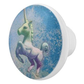 Unicorn Drawer Knob Pull Ceramic (Blue Arctic)