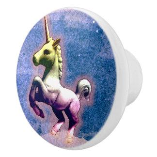 Unicorn Drawer Knob Pull Ceramic (Burnt Blue)