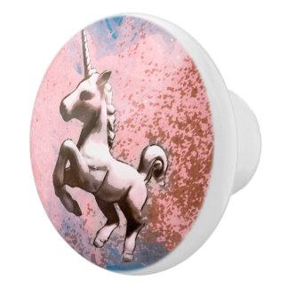 Unicorn Drawer Knob Pull Ceramic (Faded Sherbet) Ceramic Knob