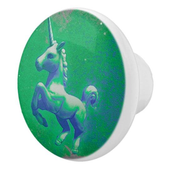 Unicorn Drawer Knob Pull Ceramic (Glowing Emerald)