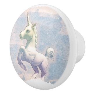 Unicorn Drawer Knob Pull Ceramic (Moon Dreams)