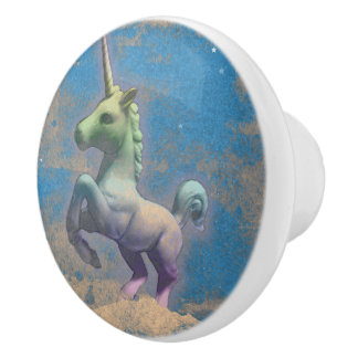 Unicorn Drawer Knob Pull Ceramic (Sandy Blue)