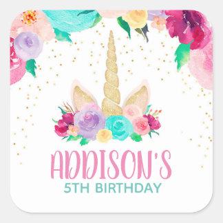Unicorn Dreams Birthday Baby Shower Square Sticker