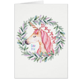 "Unicorn ""Dreams Come True"" blank greeting card"