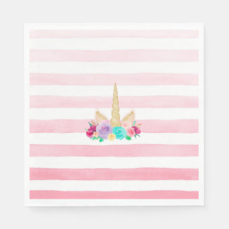Unicorn Dreams Floral Pink Striped Napkins