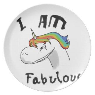 unicorn fabulous woman women mythical creature gri plate