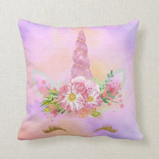 Unicorn Face Horn Lashes Pink Flowers Coral Candy Throw Pillow