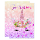 Unicorn Face Rose Gold Glitter Lashes Bright Pink Card