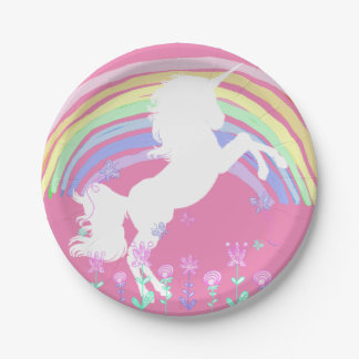 Unicorn Fairy tale Birthday Party pink Plates