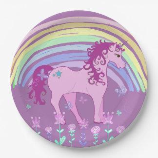 Unicorn Fairy tale Birthday Party Plates Purple
