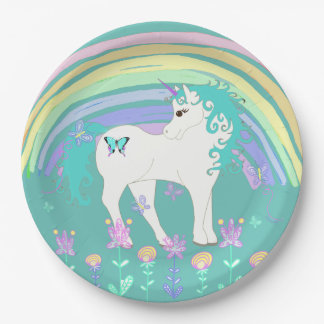 Unicorn Fairy tale Birthday Party Plates Teal 9 Inch Paper Plate