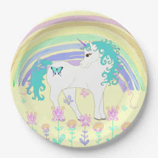 Unicorn Fairy tale Birthday Party Plates Yellow 9 Inch Paper Plate