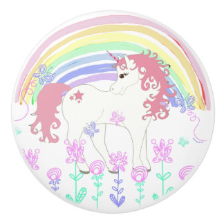 Unicorn Fairy Tale, Rainbow, Flowers and Butterfly Ceramic Knob