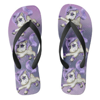 UNICORN FANTASY LOVE  Adult, Wide Straps Flip Flops