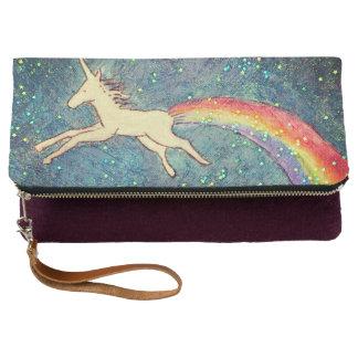 Unicorn Farting a Rainbow in the Sky Clutch