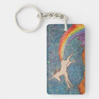 Unicorn Farting a Rainbow in the Sky Keychain