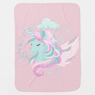 Unicorn Faux Glitter Baby Blanket