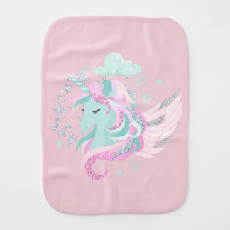 Unicorn Faux Glitter Baby Burp Cloth