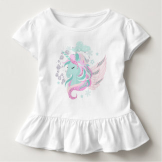 Unicorn Faux Glitter Toddler Ruffle Tee