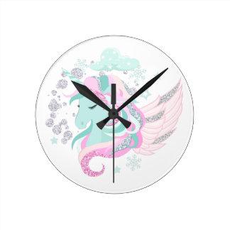 Unicorn Faux Glitter Wall Clock