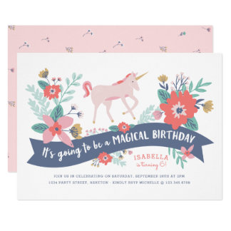 Unicorn Fields Birthday Party Invite