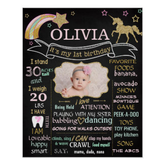 Unicorn First Birthday Party chalkboard sign photo