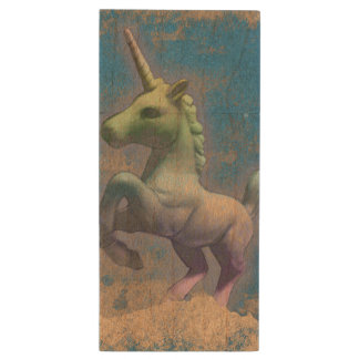 Unicorn Flash Drive Maple (Sandy Blue) Wood USB 3.0 Flash Drive