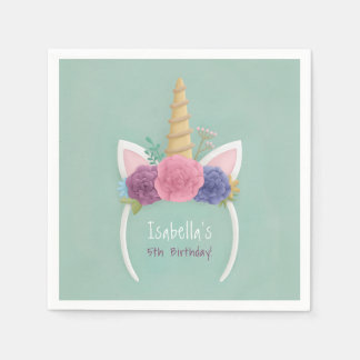 Unicorn Floral Girls Birthday Party Supplies Paper Napkins