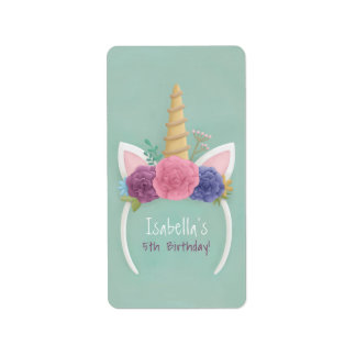 Unicorn Floral Spring Girls Birthday Party Labels