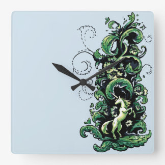 Unicorn Flourish Square Wall Clock